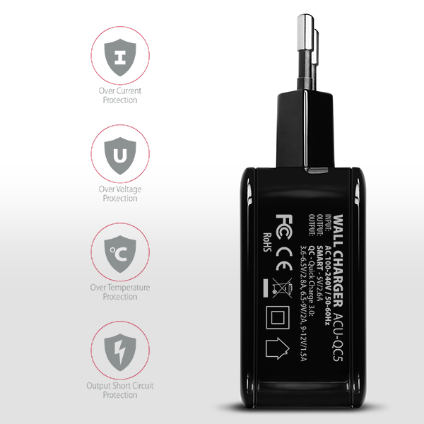 ACU-QC5 QC3.0 + 2.6A wall charger